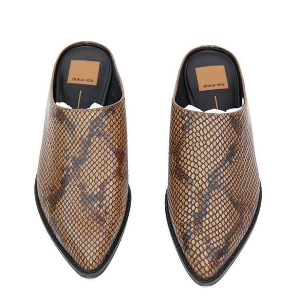 Dolce Vita Womens Aven Mule Shoes Brown Leather Sn